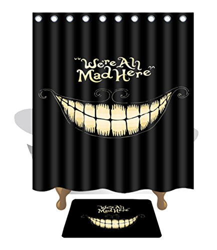 idealCN We're All Mad Here Authentic 210D Oxford Cloth Polyester Thickening Creative Decoration Shower Curtain