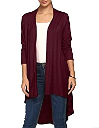 ACEVOG Women's Solid Long Sleeve Essential Long Cascading Open Front Cardigan