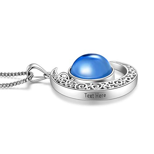 - Aurora Tears September Birthstone Necklace Women Free Engraved Crescent Moon Pendant 925 Sterling Silver Birth Jewelry Customized Personalized Name Birthday Gift DP0091S