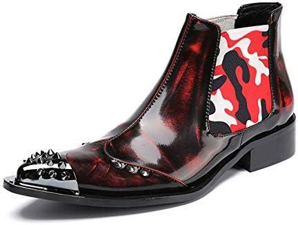 Hombres Botas de Vaquero Botines Chelsea Botas de Moto Botas de Pantorrilla Puntiagudo Cuero Clásico Elegante Rojo Noche Partido Vestido