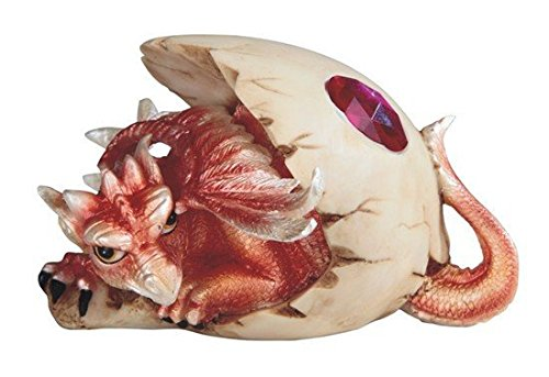 StealStreet SS-G-71528, 5 Inch Dragon Egg Statue Figurine with July Birthstone, Ruby Red, 5