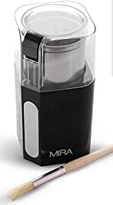 MIRA Electric Spice and Coffee Grinder - Stainless Steel Blades, Removable Cup, Cleaning Brush