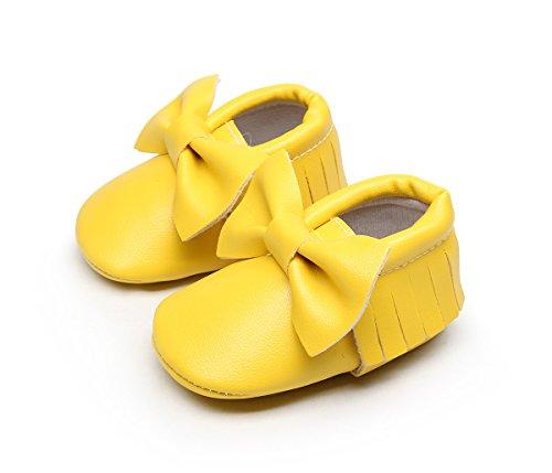 AngelaKerry - Zapatos primeros pasos de Otra Piel para niño amarillo