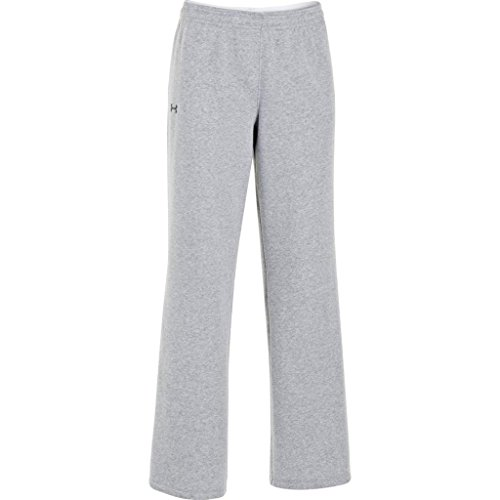 Under Armour Women's UA Team Rival Fleece Pants, True Gray Heather/Black, Small
