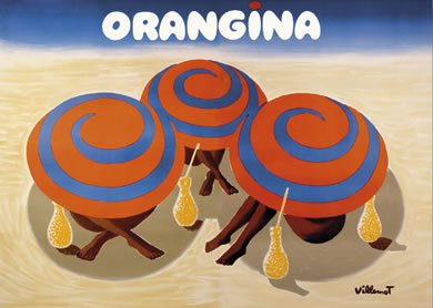 Orangina Orange Drink French Advert Sign