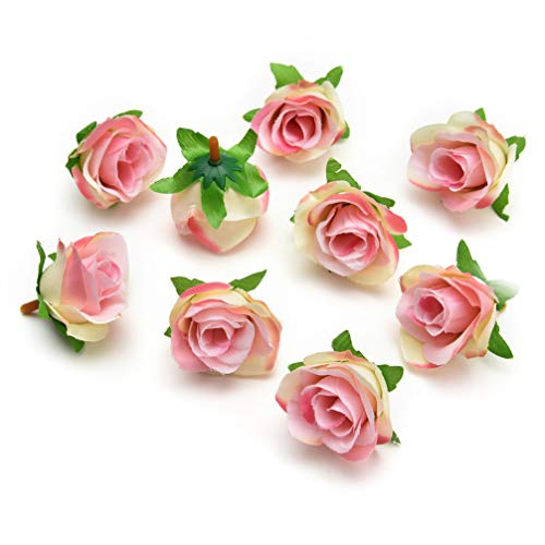Artificial Flower Heads in Bulk Wholesale for Crafts Silk Rose Fake Flowers Head Scrapbooking Ball Wedding Home Decoration DIY Party Festival Decor Garland Gift Box Handmade 30pieces 4cm (Light Pink)]()