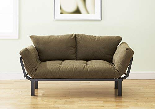 Best Futon Lounger Sit Lounge Sleep Smaller Size Furniture is Perfect for College Dorm Bedroom Studio Apartment Guest Room Covered Patio Porch . KEY KITTY Key Chain INCLUDED (OLIVE GREEN)