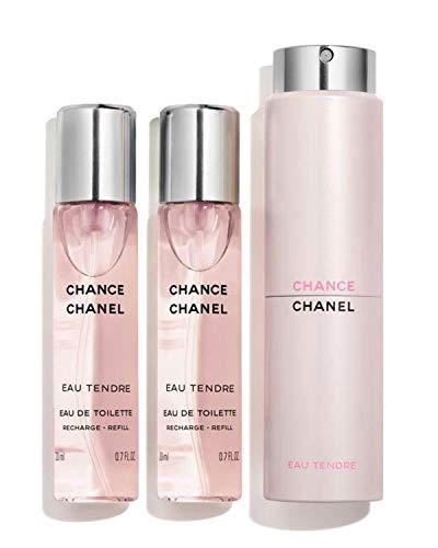 NIB CHANCE EAU TENDRE Eau de Toilette Twist & Spray, 3 x 0.7 oz./ 21 mL + Free Trial Size Designer Beauty Gift with Purchase (Best Chanel Chance Scent)