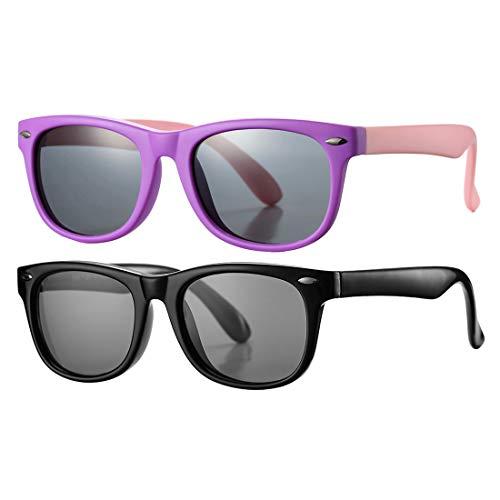 - Kids Polarized Sunglasses TPEE Rubber Flexible Shades for Girls Boys Age 3-10 (Bright Black + Purple)