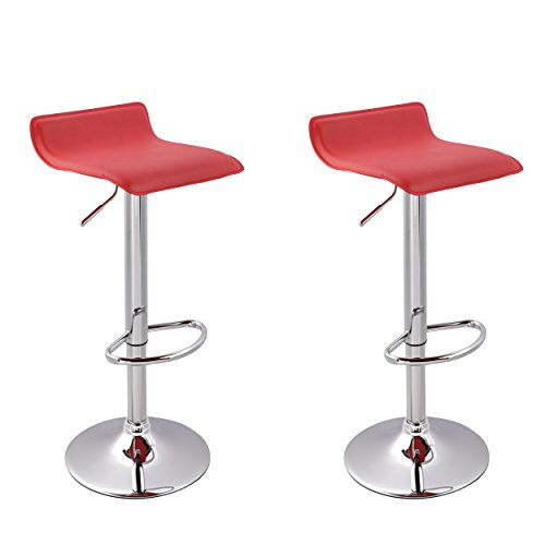 Price comparison product image Bar stool WY-118 Curved Adjustable with PVC Leather Seat Set of 2 Bar chair (red)