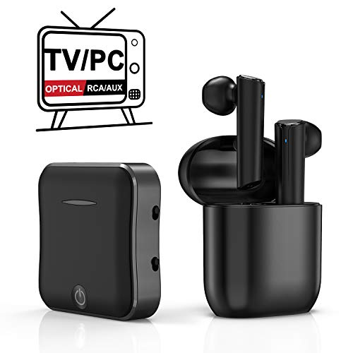 Wireless Headphones for TV Watching, TWS Earbuds Deep Bass Wireless TV Headphone Set with Bluetooth Transmitter for Optical Digital Audio, RCA, 3.5mm Aux Ports TVs, Cellphone, Laptop, PC Plug n Play (Wireless Headphones Tv Watching)