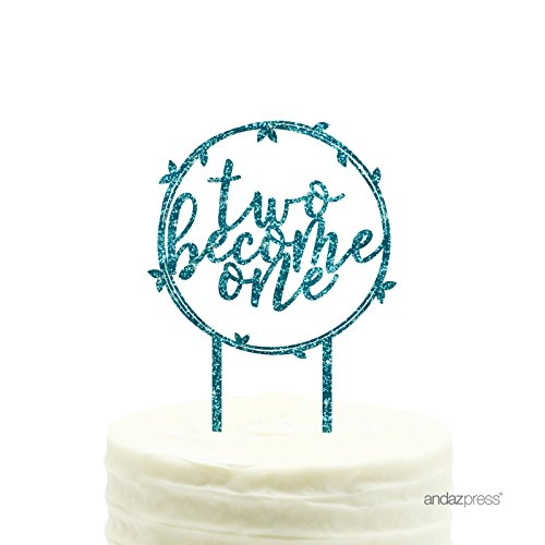Andaz Press Wedding Acrylic Cake Toppers, Diamond Blue Aqua Glitter, Two Become One, 1-Pack