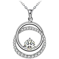 """ZHULERY Fine Jewelry Necklaces, Annulus Twine Necklaces 925 Sterling Silver 5A Cubic Zirconia 18""""+2"""" Extender Best Gift for Women Packed"""