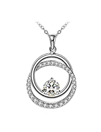 "ZHULERY Fine Jewelry Necklaces, Annulus Twine Necklaces 925 Sterling Silver 5A Cubic Zirconia 18""+2"" Extender Best Gift for Women Packed"