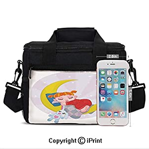 Insulated Lunch Bag Box for Men and Women, Girl on the Moon with Her Teddy Bear Sleeping Luna Night Dream Cartoon Art Decor Decorative converts to a Tote Handbag - Easy to Clean Polyester Cloth for A