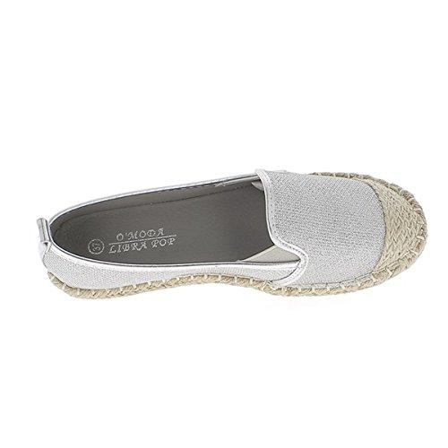 Donna Suggerimento Di Tela E Glitter Chaussmoi Sneakers D'argento Corda Grigio zFPdxqg