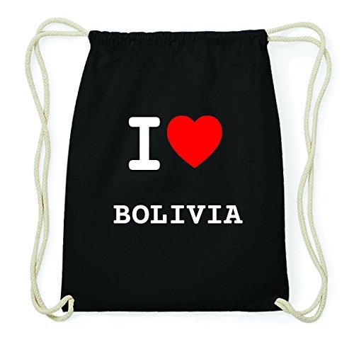 JOllify BOLIVIA Hipster Turnbeutel Tasche Rucksack aus Baumwolle - Farbe: schwarz Design: I love- Ich liebe VF5qLvm