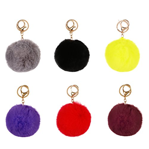 RufnTop 6 PCS PomPom KeyChain Gold Ring Car Key Ring or Handbag Accessories(6 PCS REGULAR MIX) by RufnTop