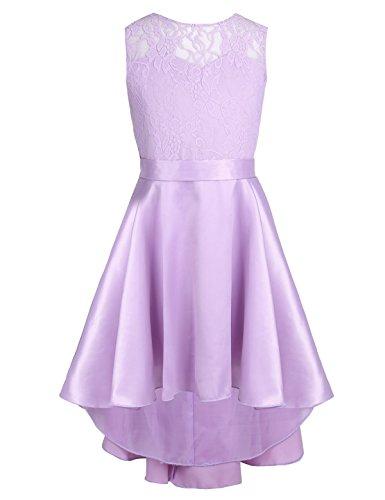- Freebily Little Big Girls Lace High-Low Hem Flower Princess Wedding Bridesmaid Birthday Party Dress Lavender 14