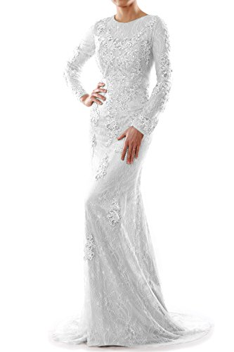 Gown Evening Wedding Party Dress Mermaid Formal Lace Long Weiß Women MACloth Sleeve w0qRwp