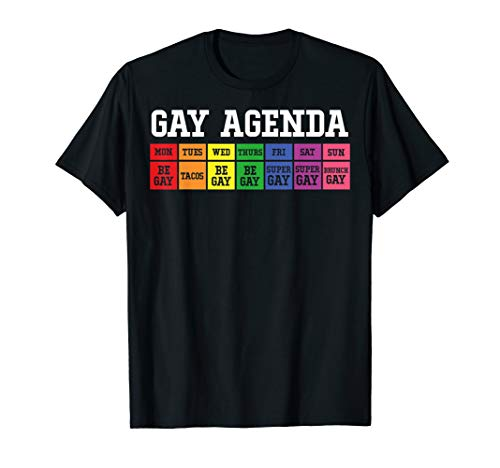Mens Gay Agenda T-Shirt Pride Love LGBT Tee (Agenda The Gay)