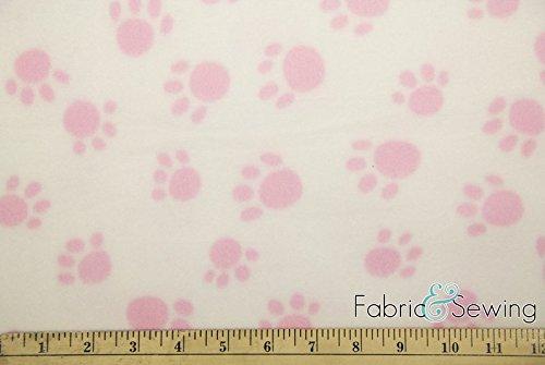 102 Fleece - Puppy Paws Pink Anti-Pill Polar Fleece Fabric Polyester 13 Oz 58-60