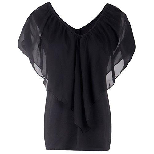 con Lunghe in XXL Shirt Black T Volant Color Spalle Chiffon Pipistrello Manica Scoperte Size Maniche Camicetta a a zqtxd5Tw