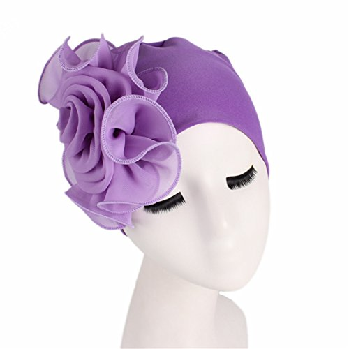 Qhome Women King Size Flower Stretchy Beanie Turban Bonnet Chemo Cap for Cancer Patients Ladies Bandanas African Head Wrap ()