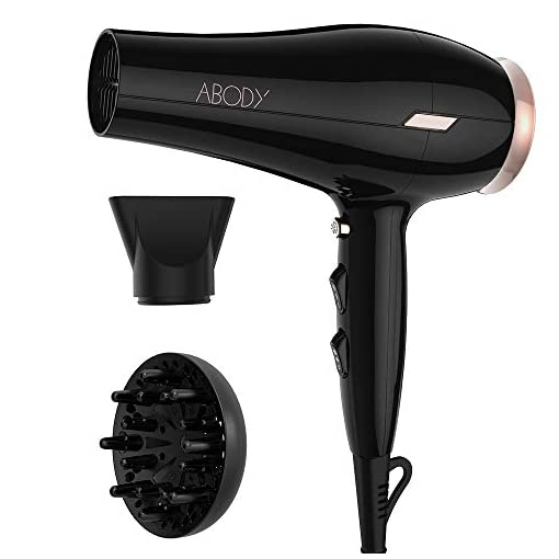 Abody 1875W Hair Dryer, Negative Ionic Blow Dryer with 2 Speed 3 Heat Setting, Cool Shot Button, Lightweight Fast Dry Low Noise with Diffuser & Concentrator, Black - 41gZg7dB7NL - Abody 1875W Hair Dryer, Negative Ionic Blow Dryer with 2 Speed 3 Heat Setting, Cool Shot Button, Lightweight Fast Dry Low Noise with Diffuser & Concentrator, Black