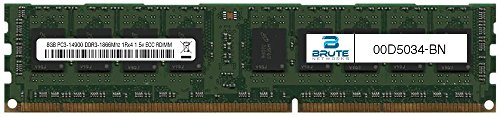 Brute Networks 00D5034-BN - 8GB PC3-14900 DDR3-1866Mhz 1Rx4 1.5v ECC Registered RDIMM (Equivalent to OEM PN # 00D5034) by Brute Networks