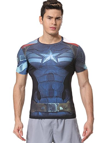 Red Plume Men's Compression Sports Fitness Shirt, Armor America Teamleader T-Shirt (M, America A)]()