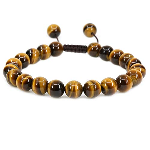 - Natural AA Grade Golden Tiger Eye Gemstone 8mm Round Beads Adjustable Braided Macrame Tassels Chakra Reiki Bracelets 7-9 inch Unisex