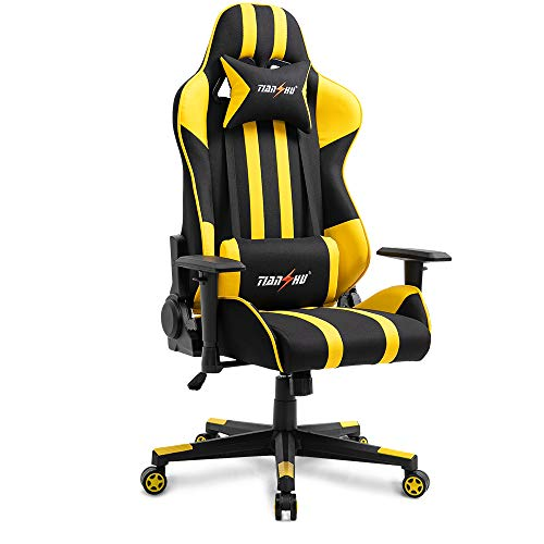 TIANSHU-Gaming-Chair-High-Back-Computer-Game-Chair-Office-Chair-PP-Fabric-PU-Leather-Racing-Chair-PC-Ergonomic-Chair-with-Headrest-and-Lumbar-Pillow-Adjustable-Swivel-Chair-E-Sports-Chair-Yellow