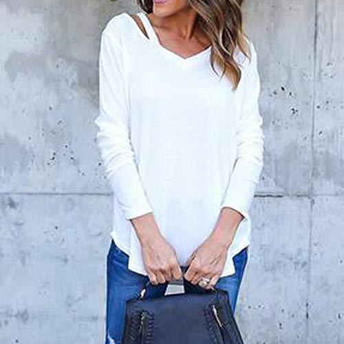 Solide Classique Loose Épaules Youngii Femmes À T Tops Blanc shirt Longues Chemise Blouse Manches Dénudées XqAYwq