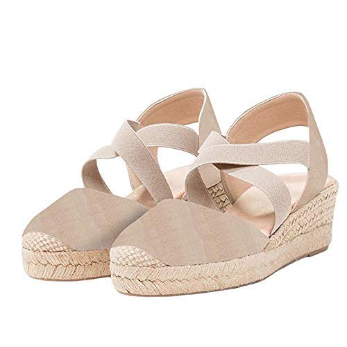 PiePieBuy Womens Espadrille Platform Wedge Sandals Closed Toe Mid Heel Ankle Sandals (10 B(M) US, Light - Mid Strappy Sexy Platform Shoes