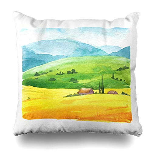 ArtsDecor Throw Pillow Covers Cases Field Blue Organic Watercolor Nature Farm Wheat Parks Painting Sunflower Badge Design Eco Home Decor Cushion Square Size 18