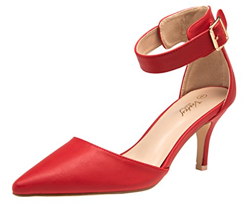 (VOSTEY Women Heels Pointed Toe Low Heel Dress Shoes Ankle Strap Pumps (9,Red Pu))
