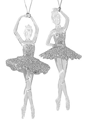 Ballerina Christmas Ornament - Party Explosions Glittery Ballerinas Dancing Silver-Colored Hanging Christmas Ornaments - Set of 2