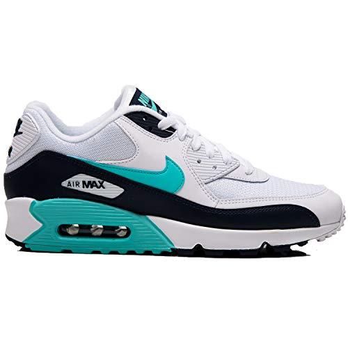 pretty nice 10417 d6a43 Nike Mens Air Max 90 Essential Running Shoes White Aurora Green Obsidian  AJ1285-
