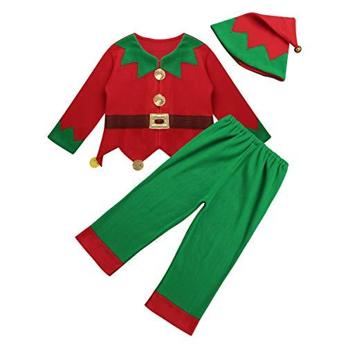 iiniim Kids Boys Girls Christmas Elf Costume Festive Outfits Santa's Helper Suit Tops Pants with Hat Fancy Dress Red&Green -