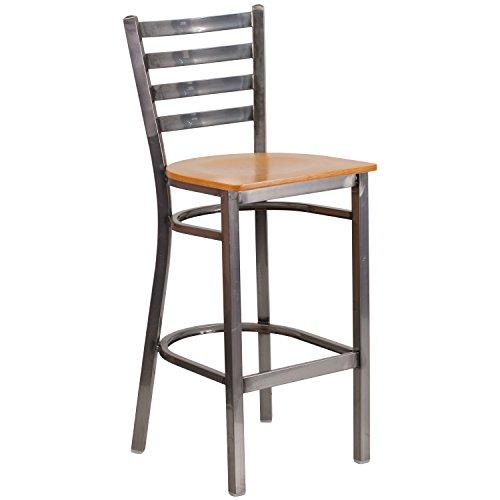 Flash Furniture HERCULES Series Clear Coated Ladder Back Metal Restaurant Barstool - Natural Wood Seat (Restaurant And Bar Furniture)