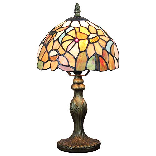 FBOSS Tiffany Style Handcrafted Yellow Sun Flower Country Style 8 Inch Stained Glass Table - Sun Handcrafted Lamp