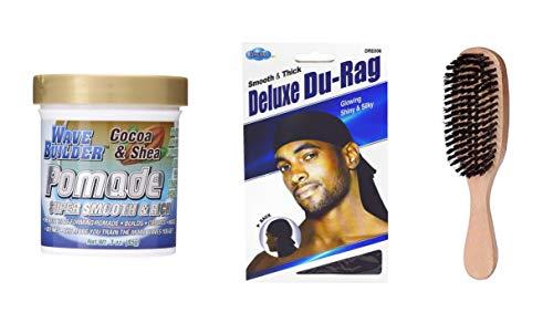 Wave Builder Cocoa & Shea Pomade- Wave Builder Kit (Including Dream Deluxe Du-Rag Black and 360 Wave brush)