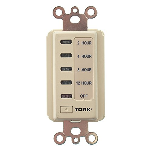 D Series Electronic Auto Off In-Wall Time Switch, 120 VAC 60 Hz Input Supply, 2, 4, 8, 12 Hours Time Setting, Ivory by TORK a brand of NSi Industries, LLC