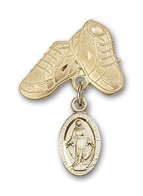 ReligiousObsession's 14K Gold Baby Badge with Miraculous Charm and Baby Boots Pin