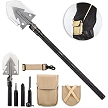 """Overmont 74cm/30"""" Military Multi Army Purpose First-aid Tool with Carrying Pouch Stainless Steel Spade Aluminum Handle Survival Folding Shovel for Camping Hiking Outdoor Tactical Activities Black"""