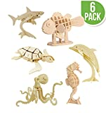Hands Craft DIY 3D Wooden Puzzle Bundle Packs (Sea Animals)