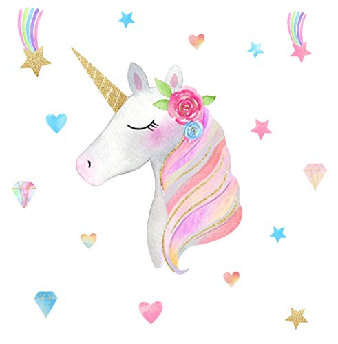 Arttop Colorful Unicorn Wall Decal, Horse Unicorn Sticker wi