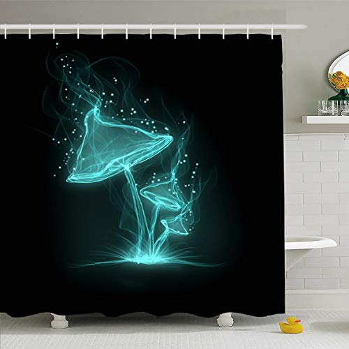 Ahawoso Shower Curtain 60x72 Inches Psychedelic Abstract Blue Mushrooms On Black Plant Nature Magic Bright Color Fairy Design Art Waterproof Polyester Fabric Bathroom Curtains Set with - Mushroom Curtain