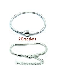 2 (Two) Silver Plated Snake Chain Classic Bead Barrel Clasp + Lobster Clasp Bracelet. Available All Size Drop Down Menu